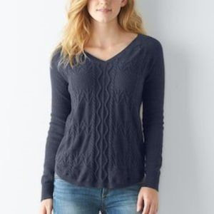 Sonoma Cable Knit V-Neck Sweater Navy Blue Heather